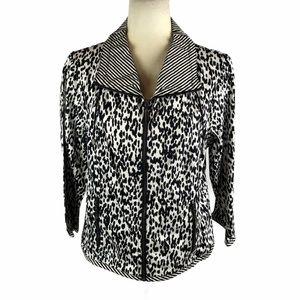 Ruby Rd. Plus Size Animal Printed Zipper Jacket